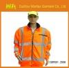 2013 EN471 / EN343 flourescent yellow windproof & waterproof hi vis mens fleece softshell jacket