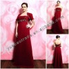 Beautiful Rose Red Evening Dresses With Elegant Short Sleeve Satin Jacket YBED-0004