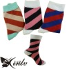 China cotton women stocking with fashion diagonal stripes pattern