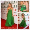 1750-1hs New Eye-catching Green Chiffon with Beaded one shoulder cream evening dress