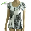 Ladies t shirt printing with rhinestone