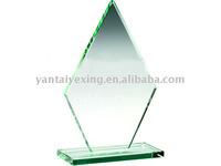 H20.5cm on base Jade Glass Diamond Plaque