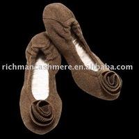 100% cashmere slipper women bellet shoes with rostte