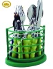 Colorful handle stainless steel 16pcs cutlery set wilth pp stand