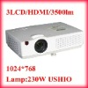 3500 Lumens 1024x768 Pixels 3LCD Projector for Home Theater Support 3D