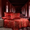 Single Double King Super King fancy red for wedding seamless silk bedding set