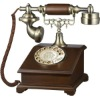 Simple American style wood rotary dial antique telephone for classical home decor