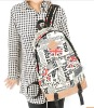 Fashion map pattern student nylon backpack,vintage women traveling bag