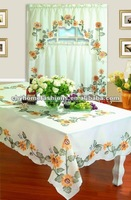 Printed kitchen curtains and matched tablecloth