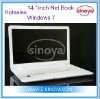 14.1''inch latpto notebook price in china Windows 7 System Dual Core Intel D2500 Bluetooth OEM LOGO Netbook Computer