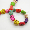 Fashion Assorted color dyed howlite gemstone howlite laughing buddha head beads for bracelets