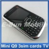 3 cards unlocked quad band qwerty keyboard TV mini Q9 mobile phone