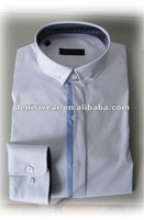 white spendix cotton shirts ,narrow collar ,contrast placket