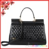 top patent leather knitted criss-cross lady handbags authentic weave women handbags