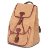 Canvas backpack traveling bag with genuine leather edge