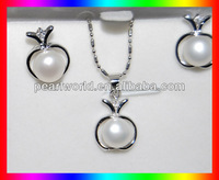 Freshwater like peach pendant necklace earring BS19