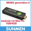 HDMI Mini TV BOX Mk802 II Android 4.0 A10 Cortex A8 1GB RAM 4G ROM