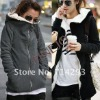 Fashion Women's Zipper-up Hoodies Thick Warm Long Fur Coat Jacket Outerwear Sweatshirt Black Dark Gray