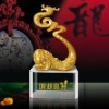 Chinese dragon crystal paperweight