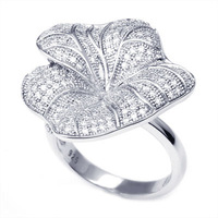 925 flower shape silver ring