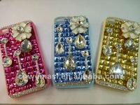 New Full Resin Rhinestone White Flower Colorful Bottom Mobile Phone Case