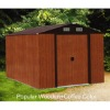 Metal garden shed in wood color