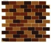 Brown Blend Mesh-Mounted Glass Mosaic Tiles 1 in. x 2 in.