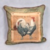 Roosters printed sofa throw pillow