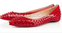 genuine leather red stud fashion cheap flat shoes women 2012