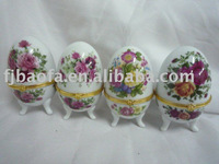 ceramics egg shape decal jewel box