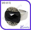 Fashion jewelry Black gemstone crystal wedding ring