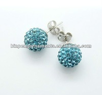 crystal ball stainless steel studs earrings