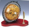multifuntional wood pen holder with clear map globe