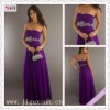 2144-1hs Elegant Strapless A-Line Purple Chiffon Appliqued Sash Floor Length prom party dress