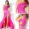 One-shoulder A-line Anke length ruffle natural waist with beaded Chiffon evening gown dress fashion dresses evening 2012