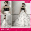 AZ0214 embroidery Strapless A line black and white wedding dresses 2012