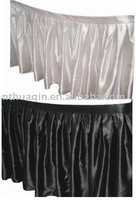 white and black satin table skirting for banquet and weddings