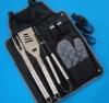 Small MOQ 6 Pcs BBQ Tool Set in Black Snap Button Bag