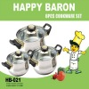 HAPPY BARON 6PCS STAINLESS STEEL KITCHENWARE COOKING POT