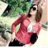 Red fashion leather jacket for women