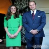 Kate Middleton Green Silk Dress for a Reception in Los Angeles custom made long sleeve celebrity red carpet dress