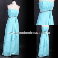 Elegant Strapless Beaded Ruffle Full Length Long Chiffon Turquoise Bridesmaid Dress DD2019