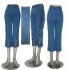 Hot! Popular new fashion cropped jeans pants for women---blue jeans