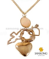 Simple gold plated heart chain necklace hot