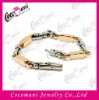 Stainless Steel Two-Tone Link Bracelet with Rose Gold Plated for Men