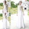 Coniefox Hot Sale Cap Sleeve V-Neck White Bridesmaid Dress 80535