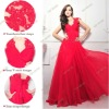 L1260 2012 Professional OEM Factory Latest Real Sample Custom Made V-neck Evening Dress Red