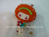 Orange Short Hair Girl Mobile Case with Cosmetic Mirror