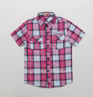 2013 Summer Fashion Boys Shirt Plaid fabric