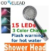 focus on the safety LED shower head in 3 colors with hot warning of temperature sensitive